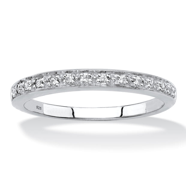 Platinum over Sterling Silver Genuine Diamond Accent Single Row Ring