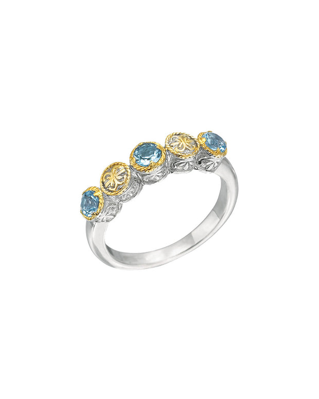 Delatori By Alor 18K Over Silver Blue Topaz Ring