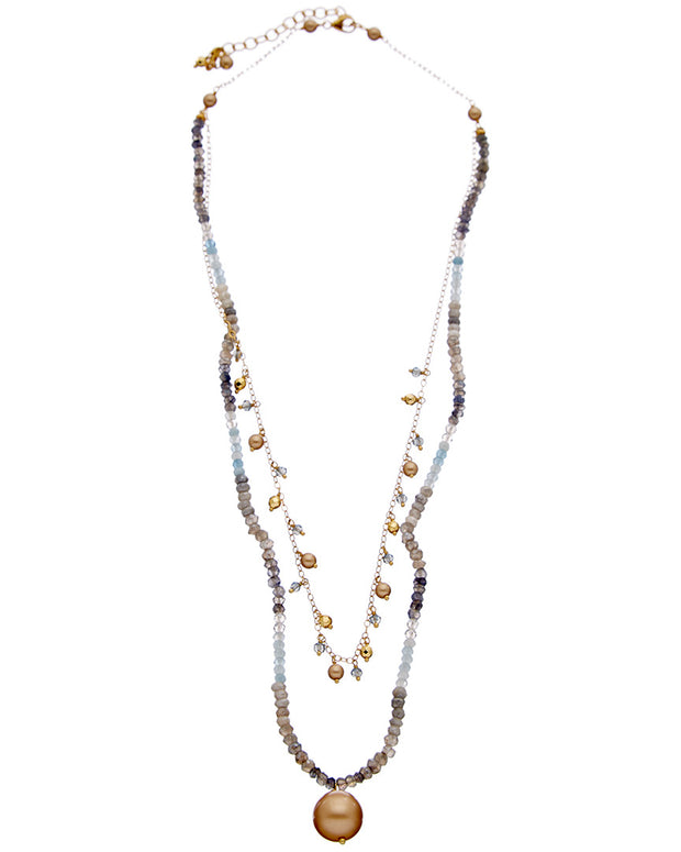 Chan Luu 18K Over Silver Gemstone & 4-12Mm Pearl Double Layer Short Necklace