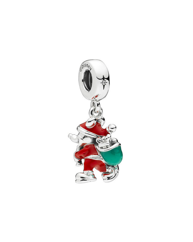 Pandora Disney Silver Cz & Enamel Santa Mickey & Gift Bag Dangle Charm