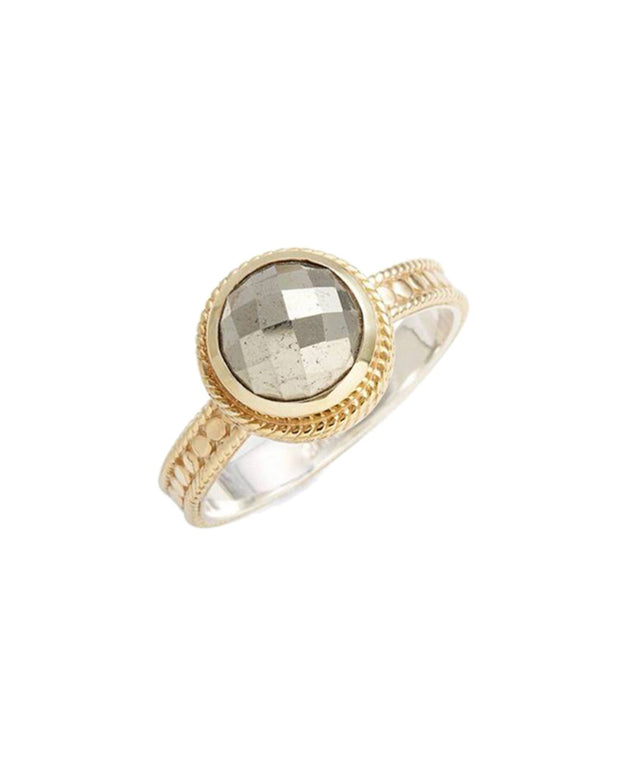 Anna Beck 18K Plated Pyrite  Round Skinny Band Ring