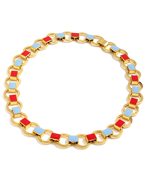 J.Crew Plated Enamel Link Necklace