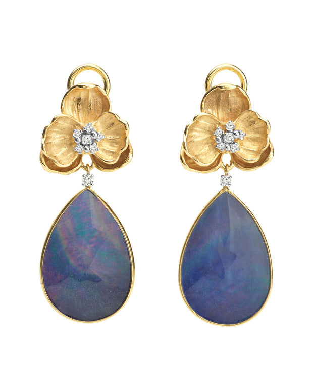 Michael Aram Orchid 18K 0.20 Ct. Tw. Diamond & Lapis Earrings