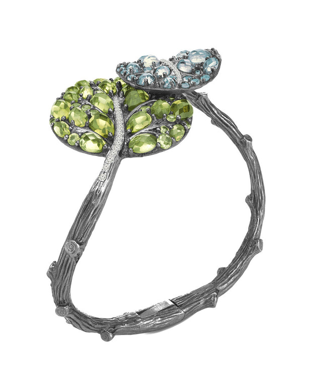 Michael Aram Botanical Leaf Silver 14.59 Ct. Tw. Diamond & Gemstone Bracelet