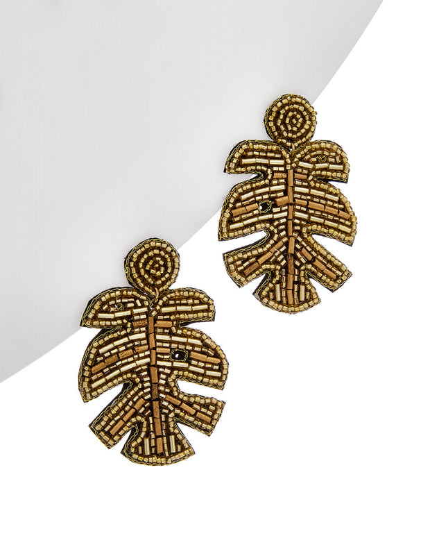 Kenneth Jay Lane Bead Leaf Earrings