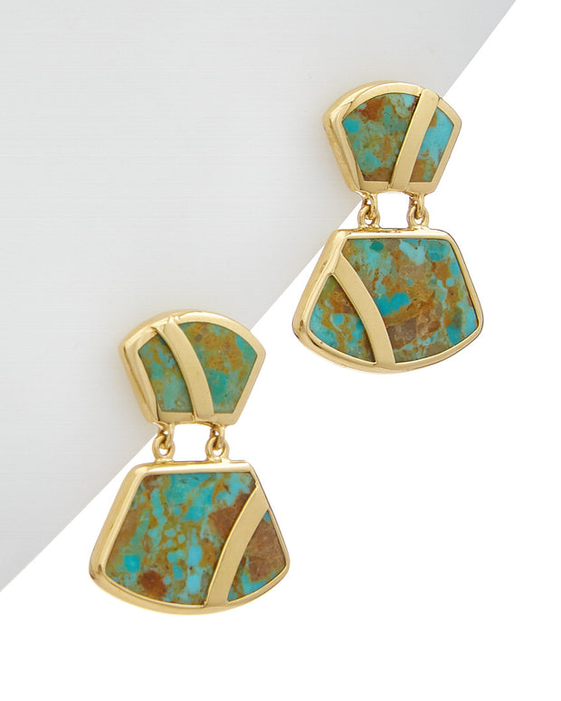 Ippolita Polished Rock Candy 18K Turquoise Block Trapezoid Earrings