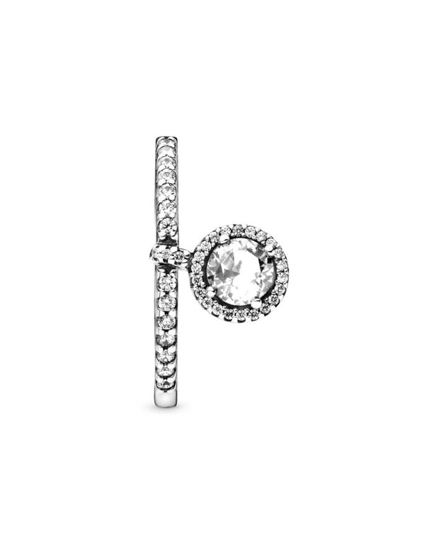 Pandora Jewelry Timeless Elegance Silver Cz Round Dangle Sparkling Ring