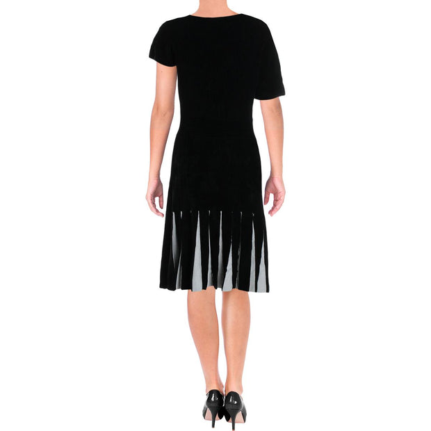 Womens Stiped Asymmetrical Midi Dress