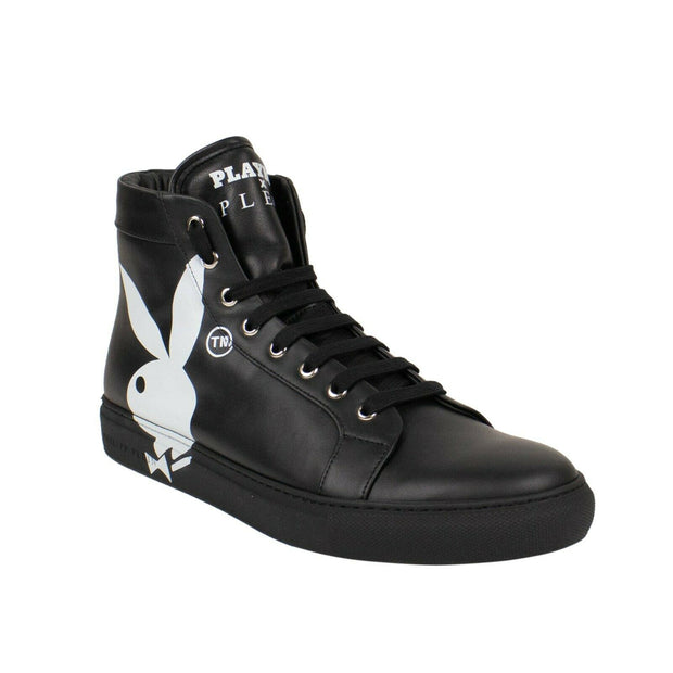 PHILIPP PLEIN x PLAYBOY Black Leather Hi-Top Sneakers
