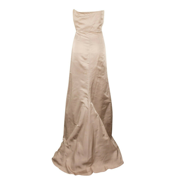VALENTINO Beige Silk Strapless Evening Gown Dress