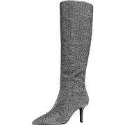 Katerina Womens Rhinestone Pointed Toe Knee-High Boots