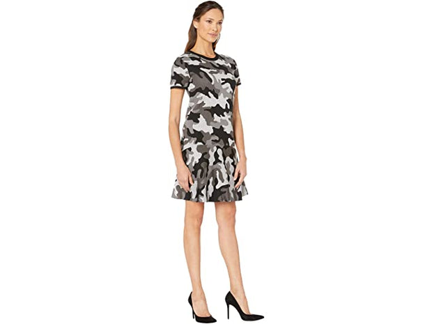 MICHAEL Michael Kors Grand Camo Crew Short Sleeve Dress