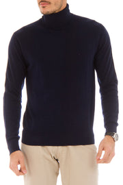 Cashmere Blend Navy Blue Roll Neck Sweater