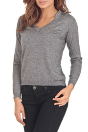 Cashmere Company COLLO V GG Grey Cashmere Blend Womens Sweater