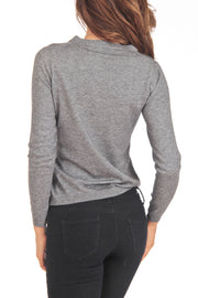 Cashmere Blend Grey V-Neck Sweater