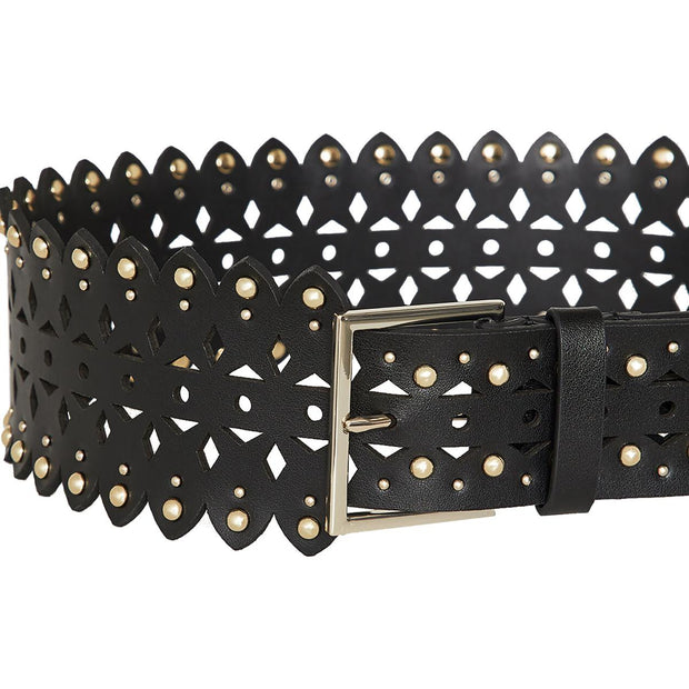 Womens Leather Studded Wide Belt