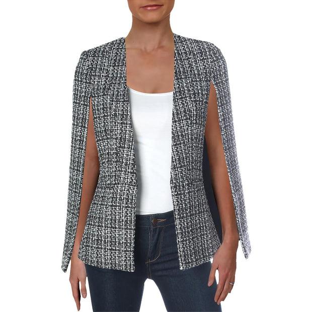 BCBG Max Azria Womens Tweed Cape Jacket