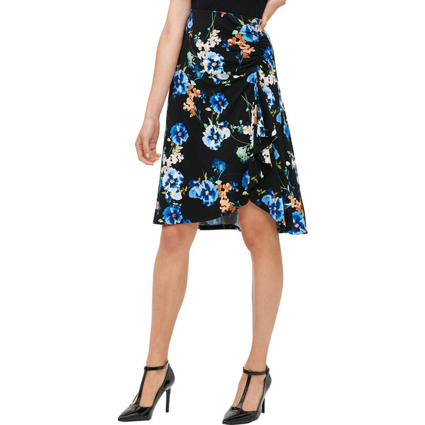 Womens Floral Ruched A-Line Skirt