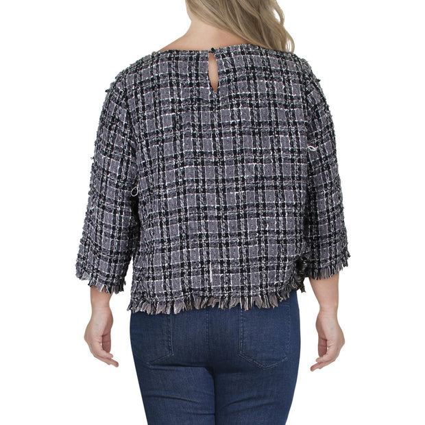 Womens Tweed Fringed Top