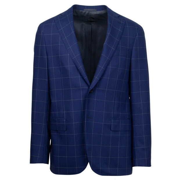CARUSO Navy Blue Check Wool 2 Button Sport Coat