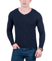 Real Cashmere Dark Blue V-Neck Fine Cashmere Blend Mens Sweater