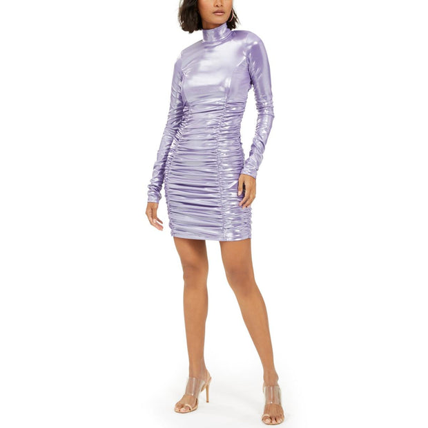 Womens Metallic Ruched Cocktail Dress