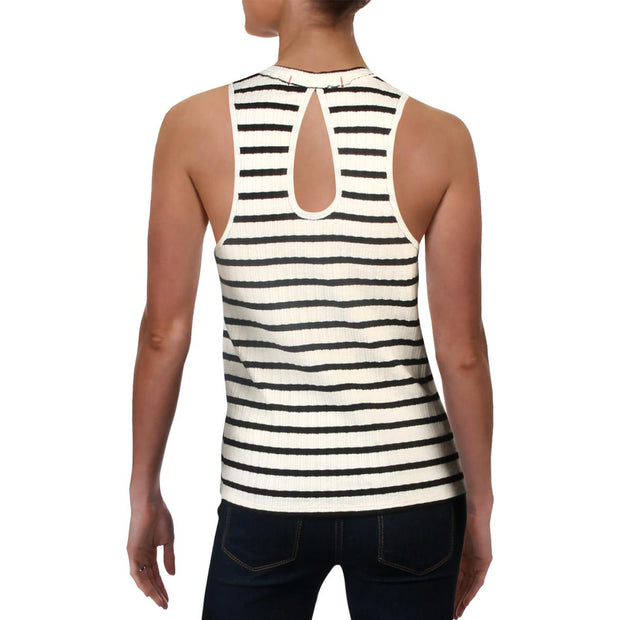 Fired Up Womens Striped Cut-Out Tank Top