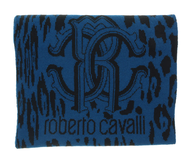 Roberto Cavalli Navy Blue/ Black Jaguar Print with Signature Wool Blend Hat and Scarf Set-One Size