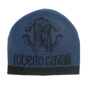 Roberto Cavalli Black/Blue Crest Logo Signature Woold Blend Hat and Scarf Set -One Size