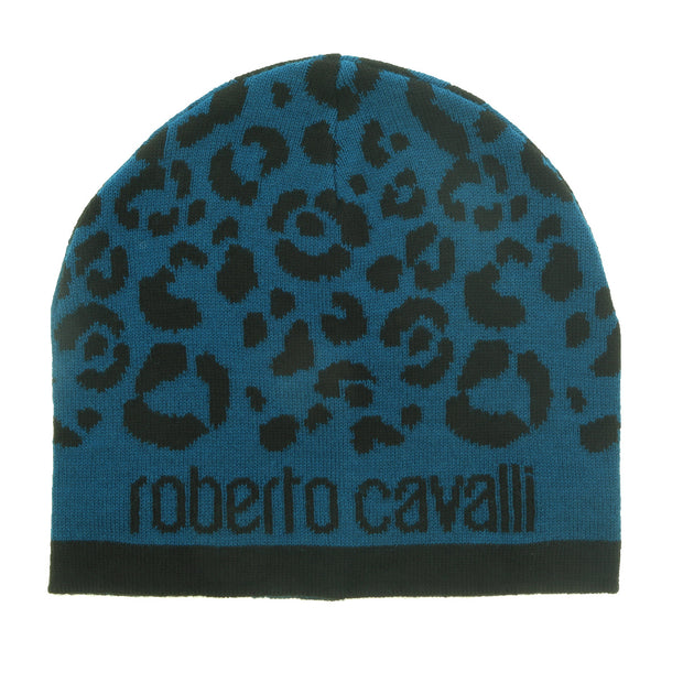 Roberto Cavalli Blue/Black Leopard Print with Signature Wool Blend Hat and Scarf Set-One Size
