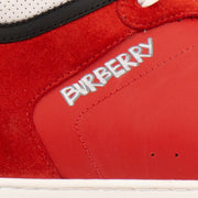 BURBERRY Red Leather 'Reeth' High-Top Sneakers