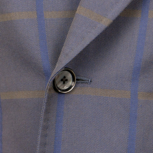 CARUSO Taupe/Blue Check Cotton Double Breasted Sport Coat