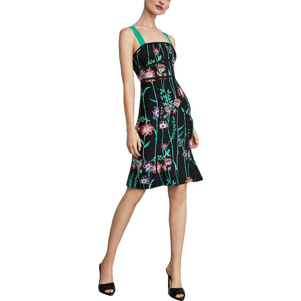 Womens Jacquard Floral Print Bodycon Dress