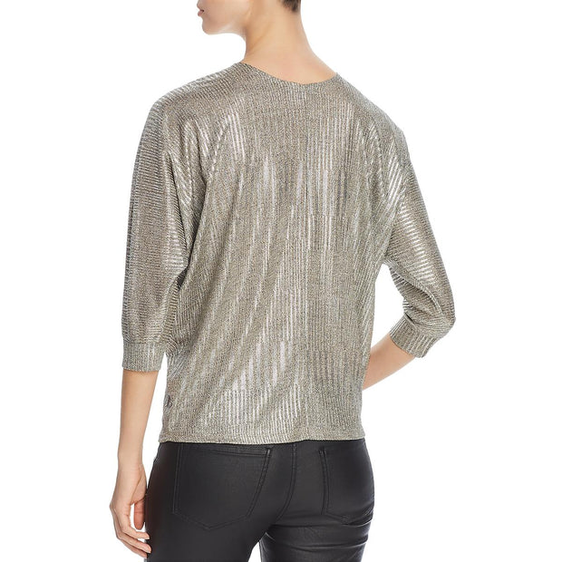 Womens Ribbed Metallic Blouse