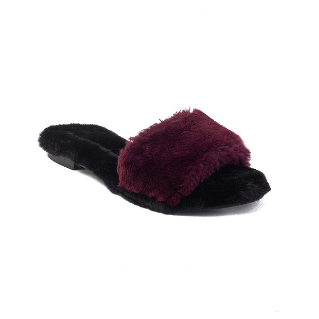 AVEC MODERATION Womens Kitzbuhel Fur Open Toe Casual Slide Sandals