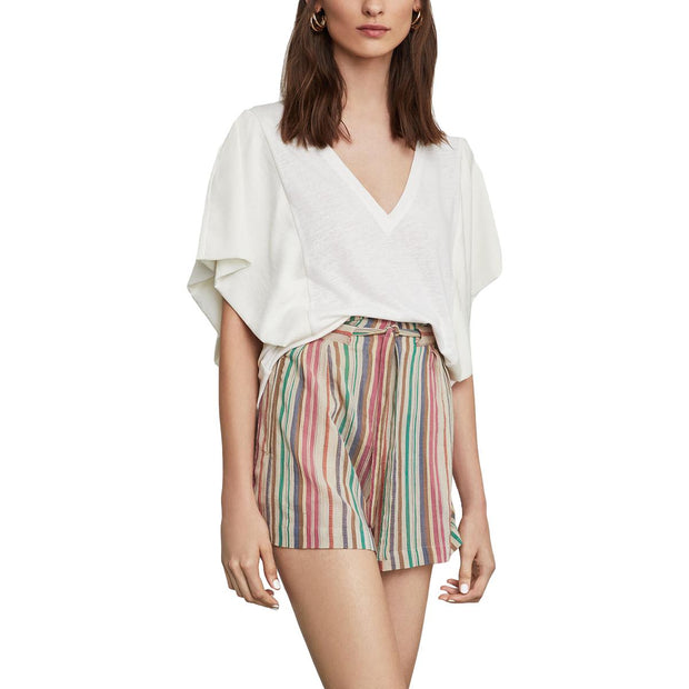 Womens Paperbag Striped Dress Shorts