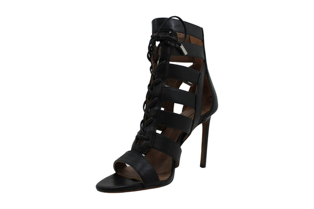 BCBGMAXAZRIA Womens Ebony Leather Open Toe Special Occasion Strappy Sandals