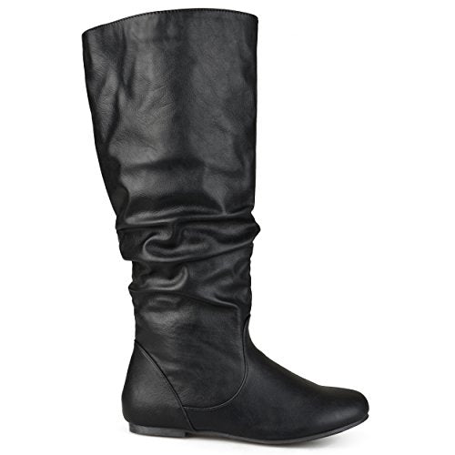 Brinley Co. Womens Extra Wide-Calf Mid-Calf Slouch Riding Boots Black