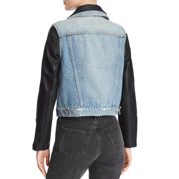 Blank NYC Womens Fall Vegan Leather Denim Jacket
