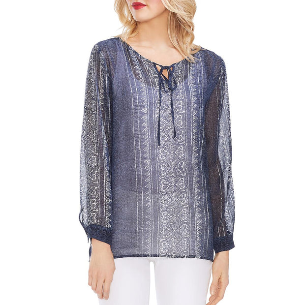 Womens Tie-Neck Printed Peasant Top