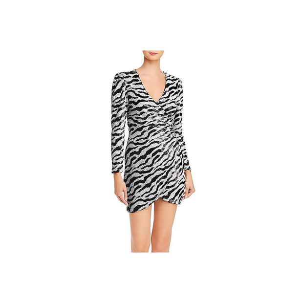 Womens Faux Wrap Zebra Print Cocktail Dress