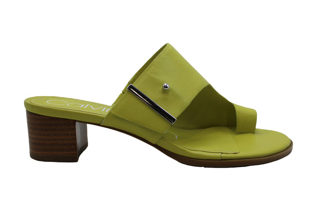 Calvin Klein Womens Daria Nappa Leather Split Toe Casual Slide Sandals