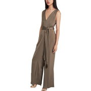 Cahya Womens Satin V-Neck Jumpsuit