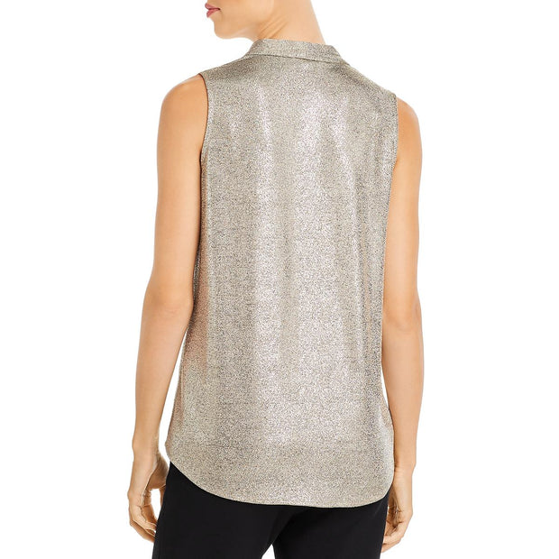 Womens Metallic V-Neck Top