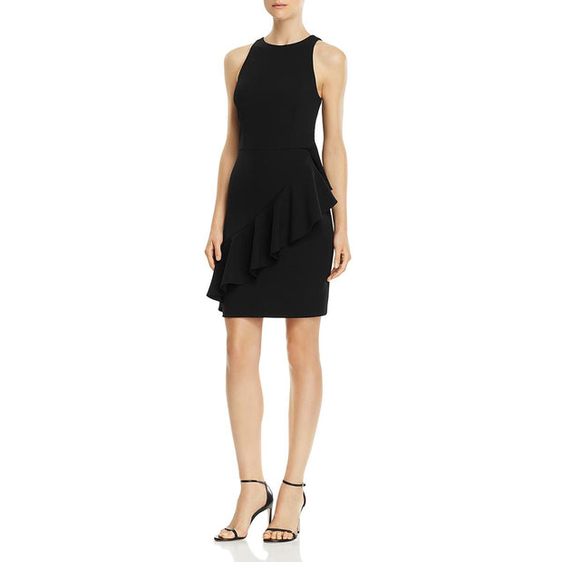 Womens Mini Ruffled Scuba Dress