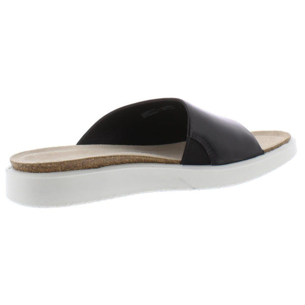 ECCO Womens Corksphere Leather Slip On Slide Sandals