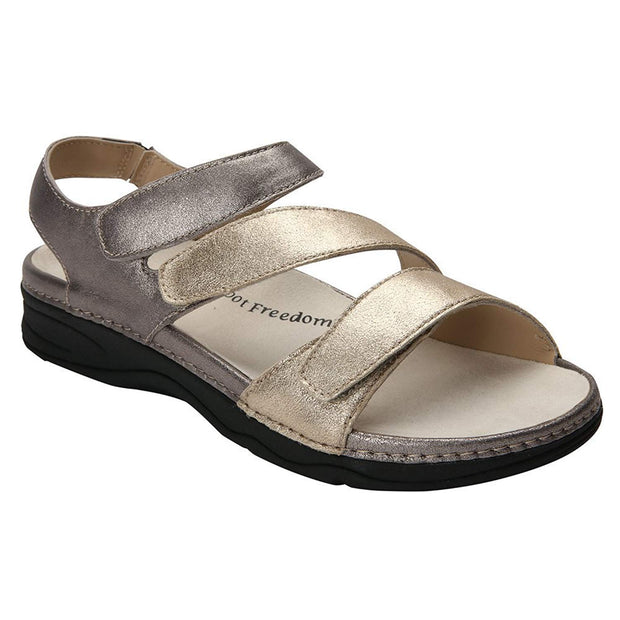 Drew Shoe Womens Angela Leather Open Toe Casual Slide Sandals