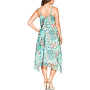 Plus Womens Sleeveless Printed Midi Dress