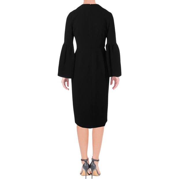 Womens Bell Sleeves Party Midi Dress