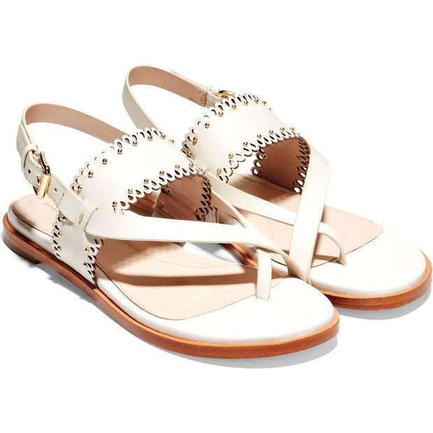 Anica Womens Leather Scalloped Thong Sandals